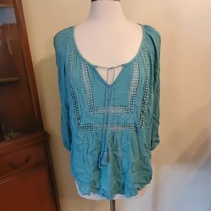 Maurices 1x teal tunic long sleeved